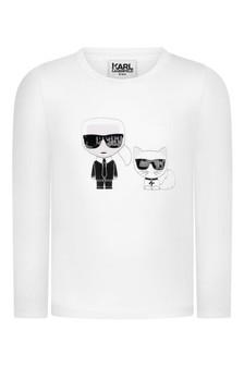 Girls White Long Sleeve Karl & Choupette T-Shirt