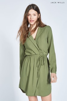 Jack Wills Hedley Hemdkleid mit Wickeldesign, Khaki