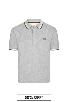 Boss Kidswear Boys Grey Cotton Poloshirt