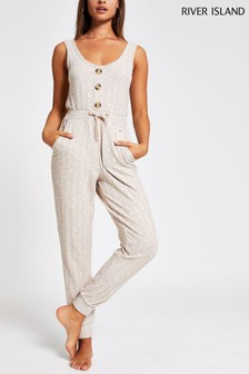 River Island Cream Oatmeal Button Front Jumpsuit