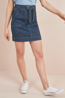 Utility Denim Mini Skirt