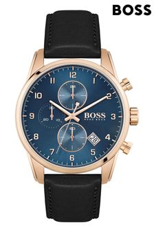 BOSS Skymaster Leather Strap Watch