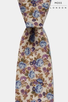 Moss London Black With Blue/Purple Rose Print Tie