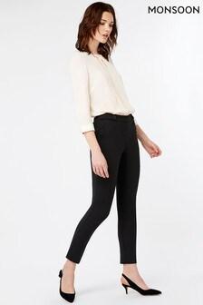 Monsoon Black Bonnie Button Tab Regular Trouser