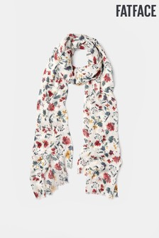FatFace White Watercolour Floral Scarf