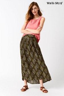 White Stuff Green Crinkle Palm Woven Maxi Skirt