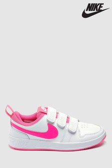 Nike White/Pink Pico Youth Trainers