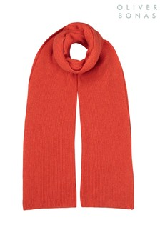 Oliver Bonas Orange Cashmere Blend Knitted Scarf