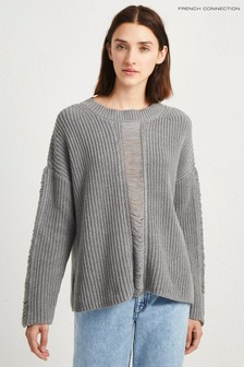 French Connection Grey High Neck Mozart Jumper