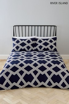 River Island Geo Print Duvet Cover And Pillowcase Set