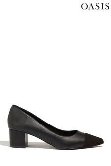 Oasis Black Suedette Patch Court Shoe