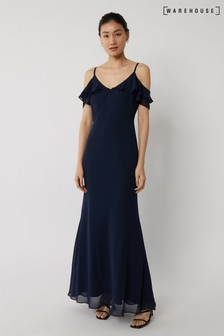Warehouse Blue Cold Shoulder Bridesmaid Dress