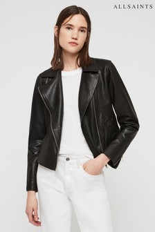 All Saints Black Vela Lightweight Leather Biker Jacket
