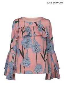Sofie Schnoor Pink Floral Ruffle Top