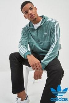 Sweat à capuche adidas Originals semi-zippé confortable à 3 bandes