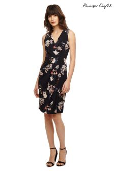 Phase Eight Navy/Pink Fiona Floral Jersey Dress