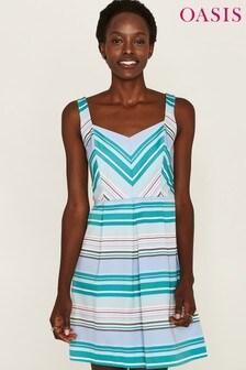 Oasis Blue Stripe Skater Dress