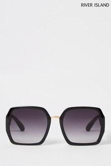 River Island Black Foil Branding Square Glam Sunglasses
