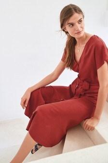Платье миди на пуговицах из смешанного льна