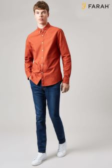 Farah Orange Brewer Slim Long Sleeve Shirt