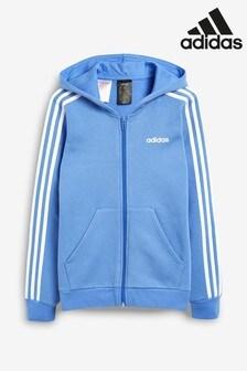 adidas Blue Essential 3 Stripe Zip Through Hoody
