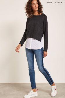 Mint Velvet Blue Side Stripe Jean