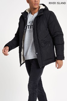 River Island Black Hooded Borg Lined Jacket