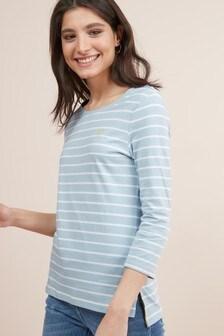 חולצת שלושת רבעים עם הדפס פסים