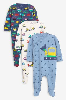Transport Sleepsuits Three Pack (0mths-2yrs)