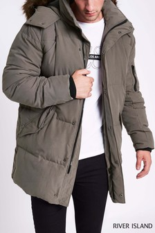 River Island Grey Long Line Quilted Jacket