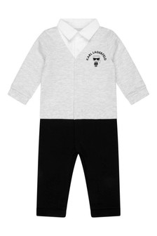 Baby Boys Grey/Black Cotton All-In-One