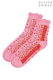 Oliver Bonas Pink Bold Floral Stripe Ankle Socks