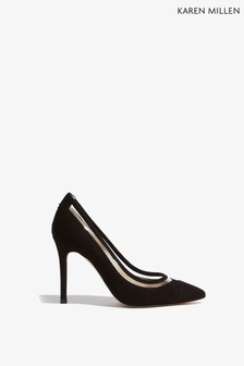 Karen Millen Black Vinyl Mix Shoe