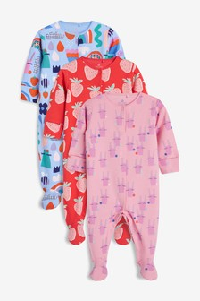 Character/Strawberry Sleepsuits Three Pack (أقل من شهر - سنتين)