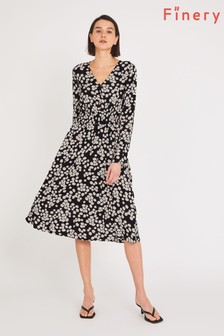 Finery Black Quinn Daisy Print Dress