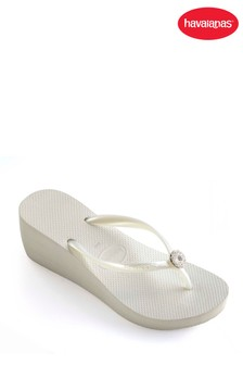 Havaianas® White High Fashion Poem Wedge