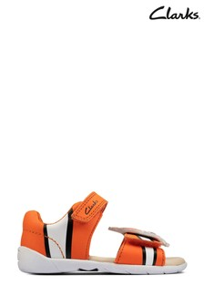 Clarks Orange Leather Zora Nemo T Sandals