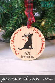 Personalised Wooden Dog Xmas Decoration by Jonny's Sister