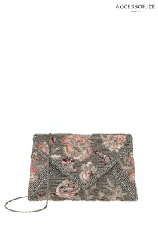 Accessorize Pewter Leila Envelope Clutch Bag