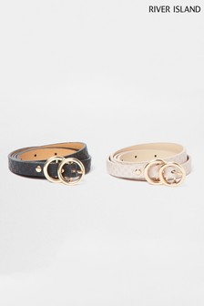 River Island Brown Mini Logo Double Ring Belts 2 Pack
