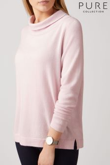 Pure Collection Pink Bardot Sweater