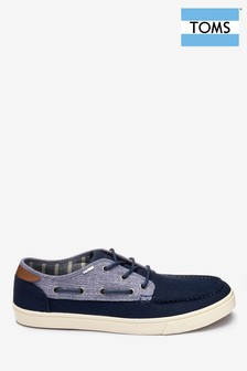 TOMS Navy Boat Shoe