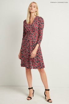French Connection Red Floral Meadow 3/4 Sleeve Dress