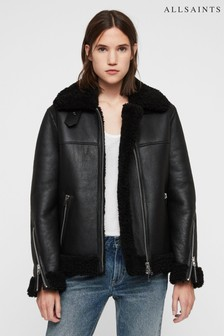 All Saints Black Luxury Leather Shearling Jacket