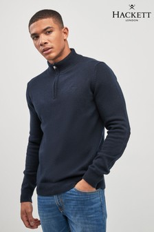 Hackett Blue Half Zip Jumper