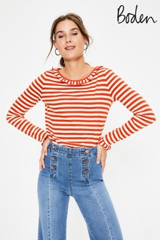 Boden White Olive Jersey Top