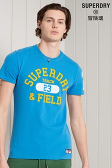 Superdry Blue Standard Weight Track & Field Graphic T-Shirt