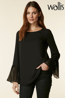 Wallis Black Scoop Neck Flute Sleeve Shirt