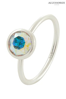 Accessorize Sterling Silver Blue St Solitaire Ring With Swarovski® Crystals