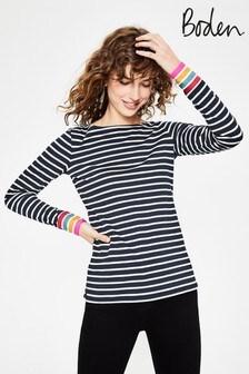 Boden Navy Long Sleeve Breton T-Shirt